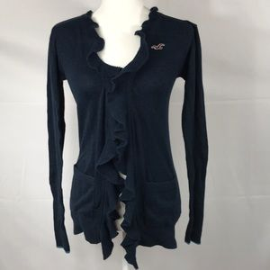 Hollister- Navy ruffle front cardigan size S